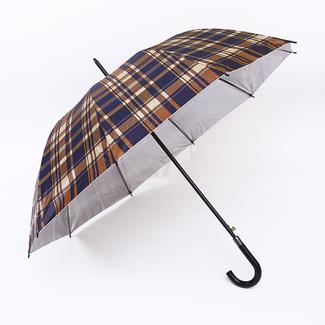 Straight umbrella with UV protection in plaid style RU1977